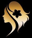 Illustration  of women silhouette icon on black ba Royalty Free Stock Photos