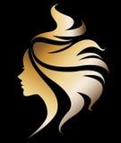 Illustration  of women silhouette icon on black background. Illustration  of women silhouette golden icon, women face logo on black background Royalty Free Stock Photo