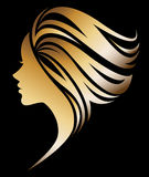 Illustration  of women silhouette icon on black background. Illustration  of women silhouette golden icon, women face logo on black background Stock Image