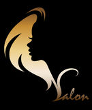 Illustration  of women silhouette icon on black background Royalty Free Stock Photos