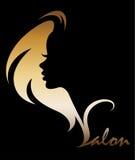 Illustration  of women silhouette icon on black background. Illustration  of women silhouette golden icon, women face logo on black background Royalty Free Stock Photos