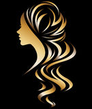 Illustration  of women silhouette icon. Illustration  of women silhouette golden icon, women face logo on black background Stock Photos