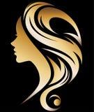 Illustration  of women silhouette icon. Illustration  of women silhouette golden icon, women face logo on black background Royalty Free Stock Photo