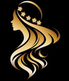 Illustration  of women silhouette icon. Illustration  of women silhouette golden icon, women face logo with flower on black background Stock Photography