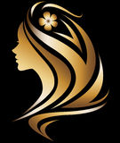 Illustration  of women silhouette icon. Illustration  of women silhouette golden icon, women face logo with flower on black background Stock Photos