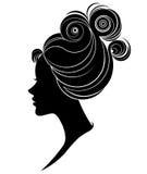 Illustration  of women silhouette icon on white background. Illustration  of women silhouette icon, women face logo on white background Stock Image