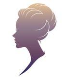 Illustration  of women silhouette icon on white background. Illustration  of women silhouette icon, women face logo on white background Stock Photo