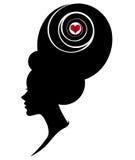 Illustration  of women silhouette icon on white background. Illustration  of women silhouette icon, women face logo on white background Stock Photography