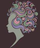 Illustration  of women silhouette icon on white background. Illustration  of women silhouette icon, women face logo Stock Photos
