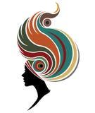 Illustration  of women silhouette icon on white background. Illustration  of women silhouette icon, women face logo Royalty Free Stock Photos