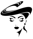 Illustration  of women silhouette icon on white background. Illustration  of women silhouette icon, women face logo Royalty Free Stock Images