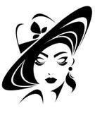 Illustration  of women silhouette icon on white background. Illustration  of women silhouette icon, women face logo Royalty Free Stock Photography