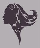 Illustration  of women silhouette purple icon Royalty Free Stock Photos