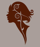 Illustration  of women silhouette red icon Stock Image