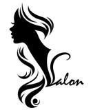 Illustration  of women silhouette white icon Stock Photo