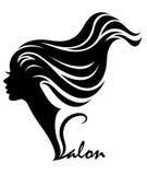 Illustration  of women silhouette white icon. Illustration  of women silhouette icon, women face logo on white background Royalty Free Stock Image