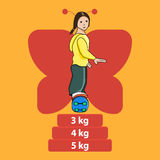 Illustration of women on skateboard. Cartoon style Royalty Free Stock Photography