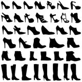Illustration of Womens shoes and boots icon set Royalty Free Stock Image