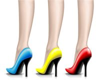 Illustration Womens Shoes from a varnish on leg Royalty Free Stock Photos