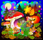 Illustration of wonderland night landscape with sleeping animals. Royalty Free Stock Photos
