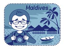 Illustration with wood bungalows in Maldives Royalty Free Stock Photography