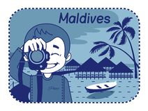 Illustration with wood bungalows in Maldives Stock Photo