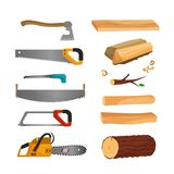 Tools for cutting wood. stock illustration