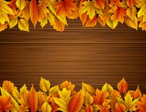 Wooden background with autumn leaves. Illustration of Wooden background with autumn leaves Royalty Free Stock Image