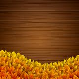 Wooden background with autumn leaves. Illustration of Wooden background with autumn leaves Royalty Free Stock Photos