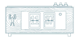 Illustration of wooden flip clocks, line icon Royalty Free Stock Photography