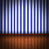 Illustration of wooden floor with blue striped wel Royalty Free Stock Photos