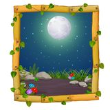 Wooden frame with nature scene and fullmoon stock illustration