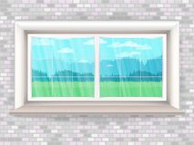 Illustration with wooden window in realistic style a brick wall and the rustic landscape outside the window. Vector background royalty free illustration