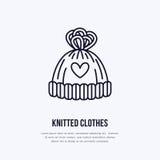 Illustration of woolen hat. Knitted clothing shop line logo. Vector flat sign for atelier or garment shop Stock Images