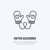 Illustration of woolen mittens. Knitted clothing shop line logo. Vector flat sign for atelier or garment shop Royalty Free Stock Images