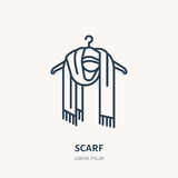 Illustration of woolen scarf. Knitted clothing shop line logo. Vector flat sign for atelier or garment shop Stock Images