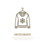 Illustration of woolen sweater. Knitted clothing shop line logo. Vector flat sign for atelier or garment shop Royalty Free Stock Photo