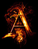 A, illustration of  word with chrome effects and red fire on bla. Ck Stock Images