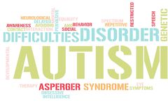 Autism word cloud. Illustration of word cloud tags related to Autism concept royalty free illustration