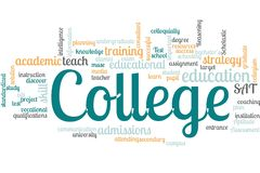 College word cloud stock photo
