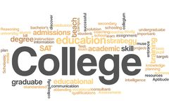 College word cloud stock image
