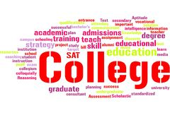 College word cloud stock images