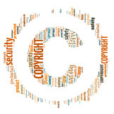 Illustration word of copyright symbol Stock Photos