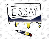 Illustration of the word Essay flowing paint. Vector Stock Image