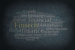 Illustration with the word Fintech. Blackboard with word cloud on Fintech, finance and technology.3D rendering Royalty Free Stock Image