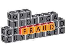 Illustration of word fraud using alphabet cubes Stock Images