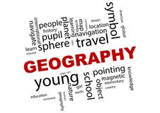 Geography word cloud illustration. An illustration of the word geography and related terms in a cloud Stock Photos