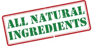 All natural ingredients. Illustration of words ALL NATURAL INGREDIENTS in green grunge text on white with a red solid and dotted rectangular frame, isolated on a stock illustration