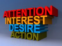 Attention interest desire action. An illustration of the words attention interest desire action stacked royalty free illustration
