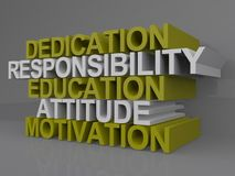 Attitude and dedication. An illustration of words dedication, responsibility, education, attitude and motivation Stock Photo